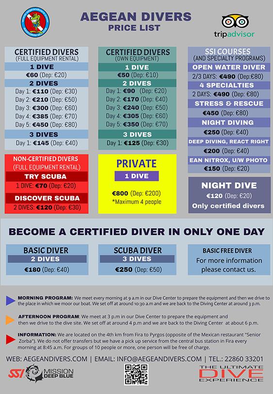 Lista de Precios - Aegean Divers Santorini